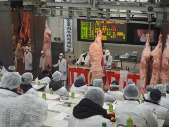 南港市場で全農枝肉共、和牛の最優秀賞はキロ単価4,040円に